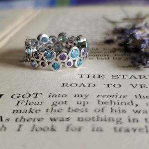 Sterling Silver Ring Mermaid Ring Blue and Purple